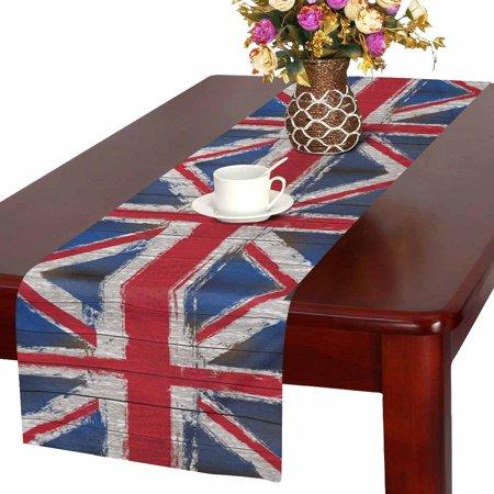 MKHERT Wooden Grunged United Kingdom Flag British Union Jack Flag Table Runner Home Decor for Home Kitchen Wedding Party Banquet Decoration 16x72 - Union Jack Party Decorations