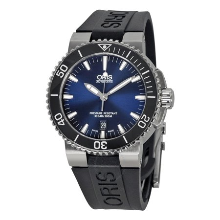 6e72aeab294 Oris - Aquis Date Dark Blue Dial Black Rubber Mens Watch 733-7653-4135RS -  Walmart.com