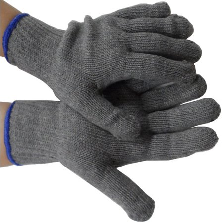 GRAY Medium Weight Cotton String Knit Gloves, Mens size