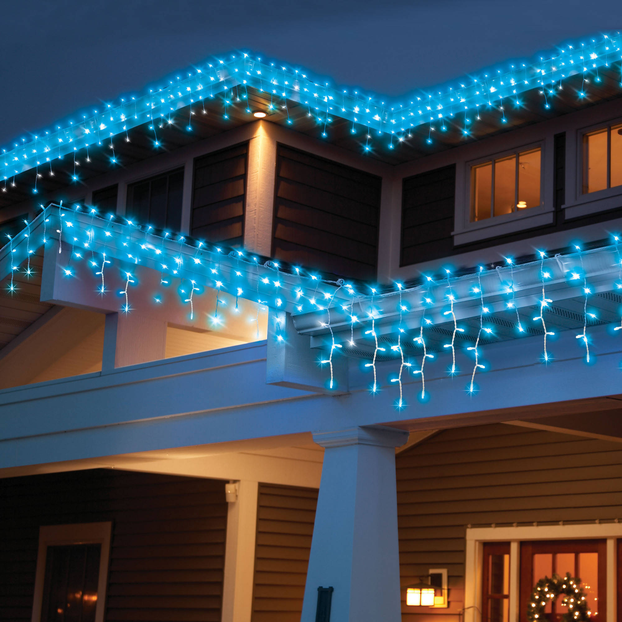 Holiday Time High Density Icicle Light Set White Wire Blue Bulb, 300 ...