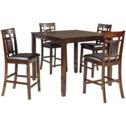 Ashley Furniture Bennox 5 Piece Counter Height Dining Set in Brown