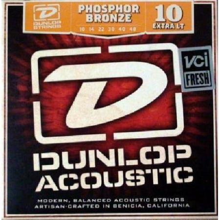 Dunlop DAP1048 Acoustic Phosphor Bronze Guitar Strings, Extra Light, .010-.048, 6 Strings/Set By Jim