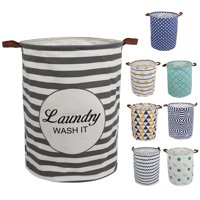 """AUCHEN Laundry Hamper, Large Waterproof Cotton Fabric Laundry Baskets with 2 Handles - 19.7""""Hx 15.7""""Wx 15.7""""L - Dirty Clothes, Kids Baby Toys Organizer(Round - Gray Stripe)"""