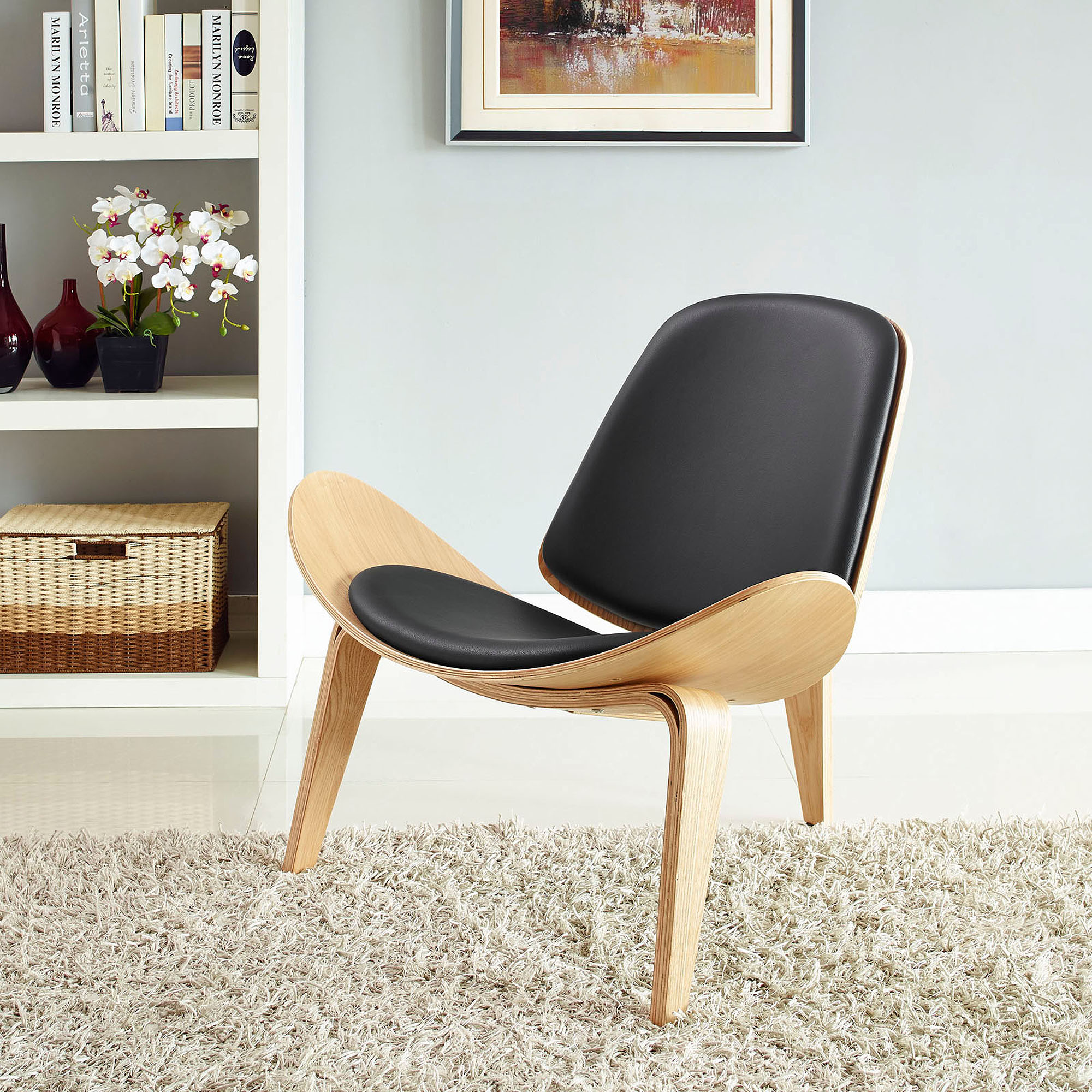 Modway Arch Upholstered Leatherette Lounge Chair in Oak Black