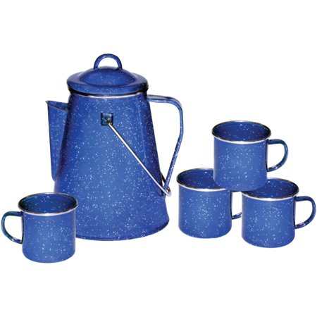 Camping 8 Cup Blue Enamel Percolator Coffee Pot. RV Fire Pit Outdoor Maker Set