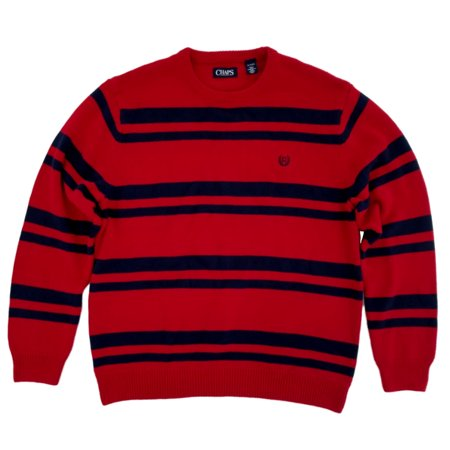 Chaps Mens Red/Navy Stripe Holiday Pullover Crewneck (Mens Chaps Crewneck Sweater)
