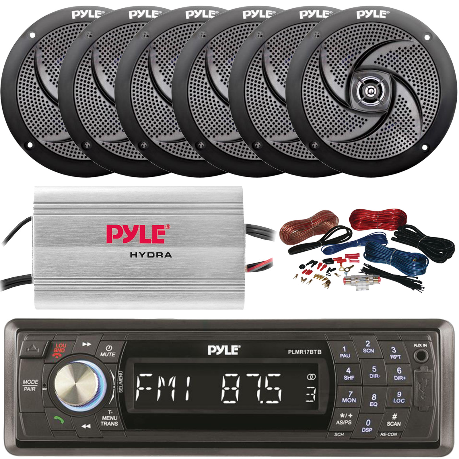 400W Amp 4 Speakers Pyle Marine AM//FM Radio Stereo System /& Bluetooth /& Cover