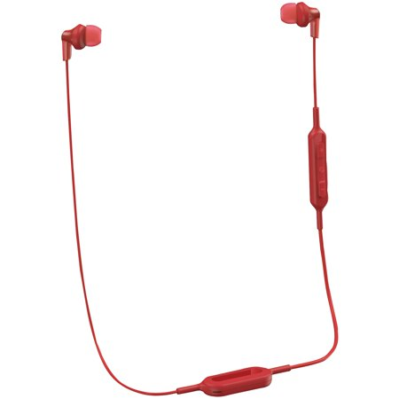 Panasonic RP-HJE120B-R ErgoFit In-Ear Earbud Headphones with Bluetooth (Red) ()