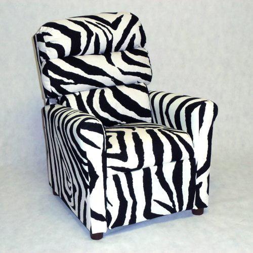 Brazil Furniture Waterfall Back Child Recliner - Zebra