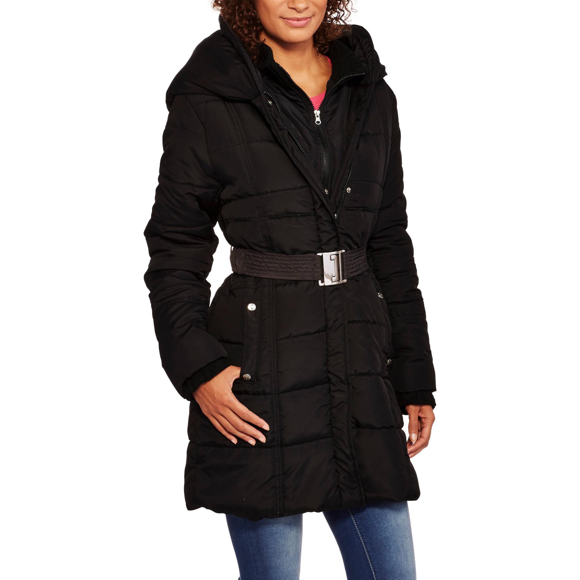 Fahrenheit Women's Belted Long Puffer Coat