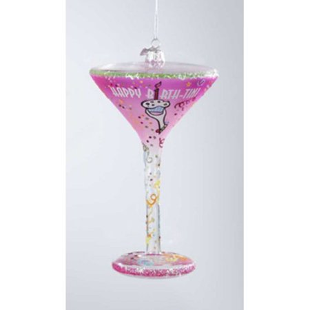Blown Glass Hanging - The Holiday Aisle Happy Hour Hand-Painted Blown Glass Happy Birth-Tini Martini Cocktail Christmas Hanging Figurine
