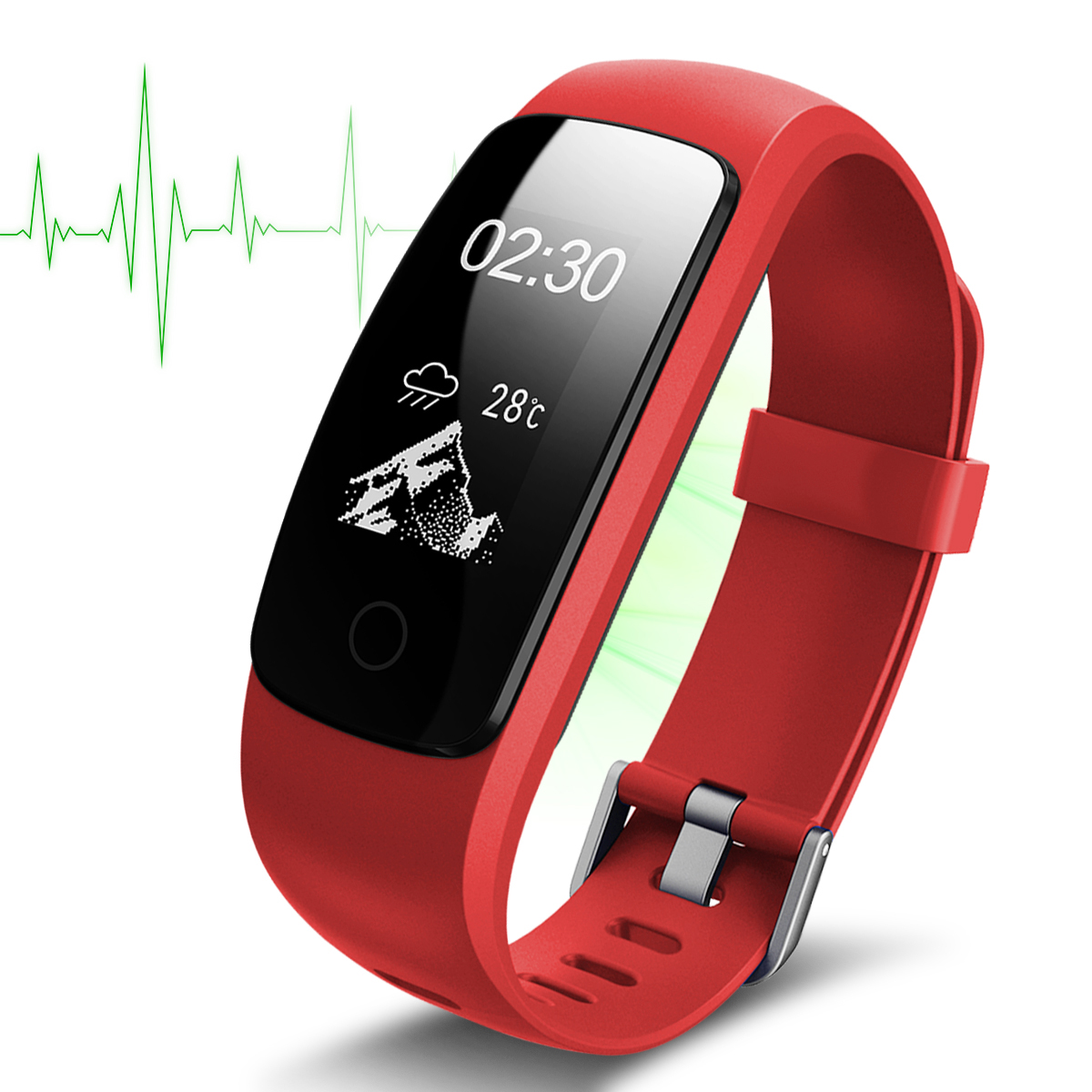 Diggro ID107 Plus smart bracelet Bluetooth Heart Rate Monitor Fitness Bracelet IP67 Red