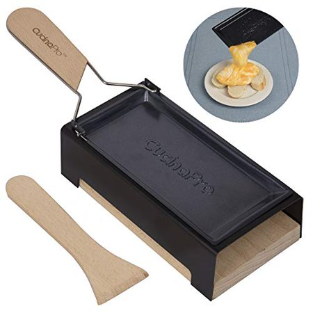 Heavy Duty Cheesemelter (Cheese Raclette w Foldable Handle- Candlelight Cheese Melter Pan w Spatula and Candles- Melts in Under 4 Minutes)