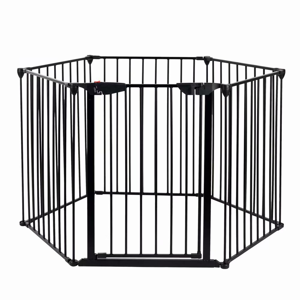 Akoyovwerve Baby Gates and Play Pens with Swing Door,6 Panel Steel Fireplace Safety Gate Fences Kids Fence... by Akoyovwerve