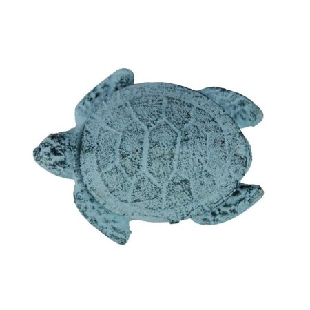 Dark Blue Whitewashed Cast Iron Decorative Turtle Bottle Opener 4