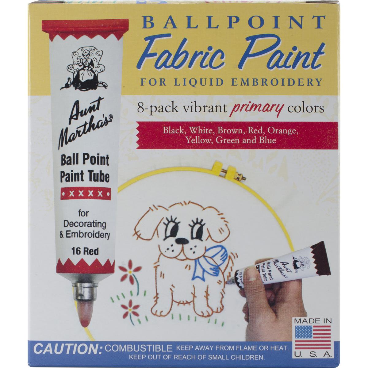 Aunt Martha's Ballpoint Paint Tubes 1oz 8/Pkg Primary Colors