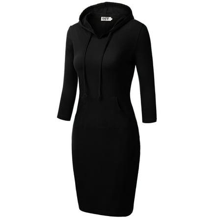 DJT Women's 3/4 Raglan Sleeve Hoodie Dress with Kangaroo Pockets Large Black