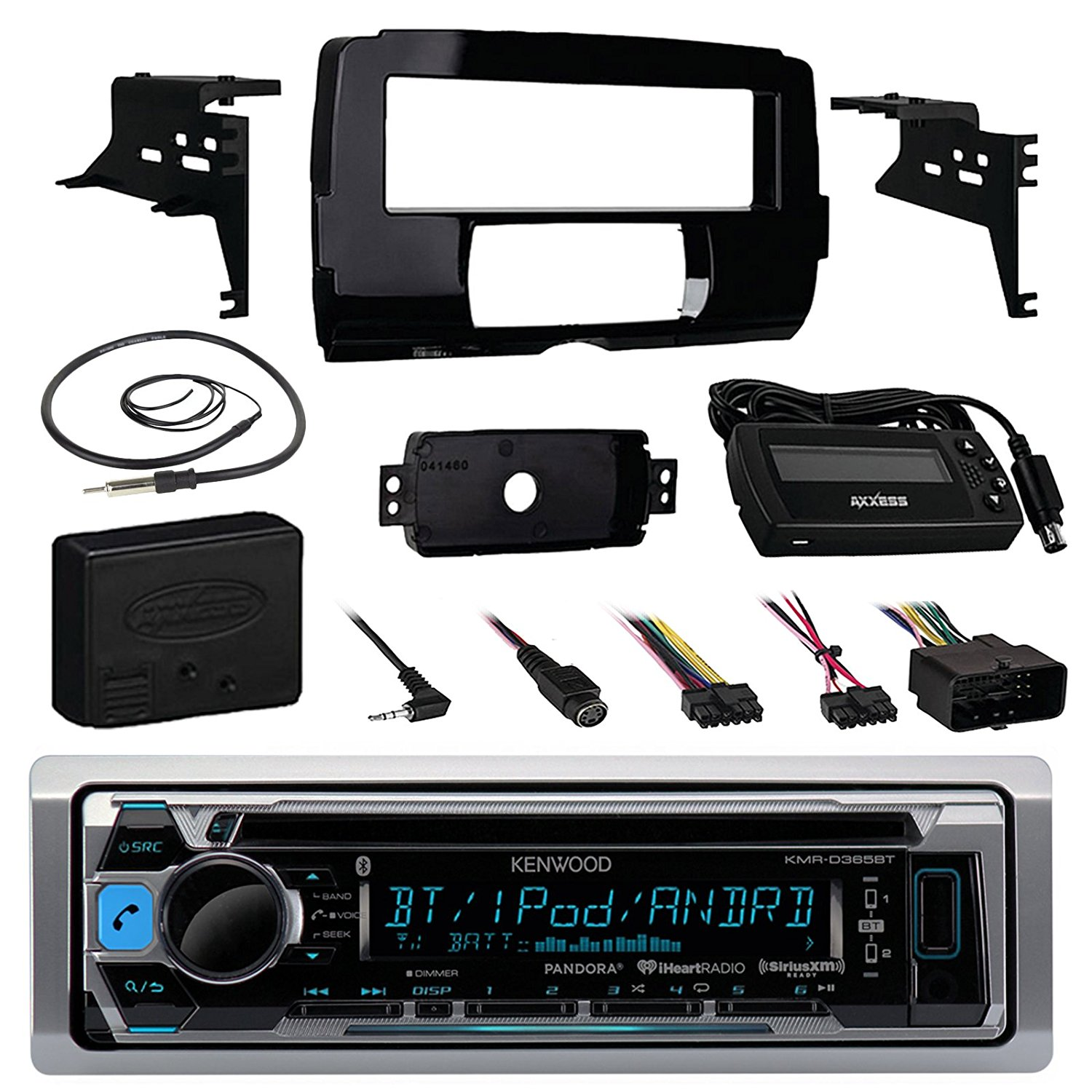 "Audio Bundle For 2014 and Up Harley - Kenwood KMRD372BT Marine CD MP3 iPod Bluetooth Stereo Receiver Bundle Combo With Install Dash Kit, Handle Bar Controller for Motorcycle, Enrock 22"" Radio Antenna"