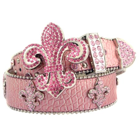 Pink Leather Belt in a Crocodile Pattern, Decorated with a Fleur De Lis Buckle with High Quality Pink Crystals, Size S/M