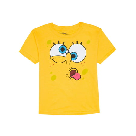 Spongebob Silly Face Yellow Short Sleeve Graphic Tee (Little Boys & Big Boys)](Personalized Spongebob Birthday Shirts)
