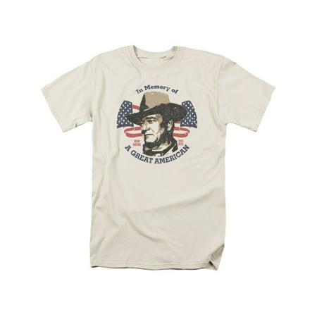 John Wayne Great American Mens Short Sleeve Shirt (Cream, Small) (John Wayne Cowboy Shirt)