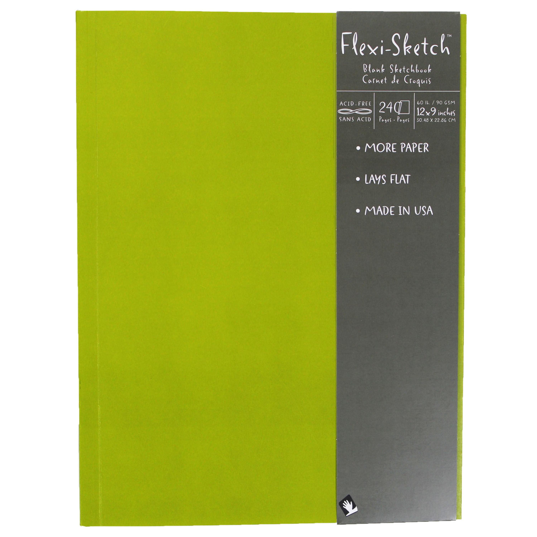 Global Art Flexi-Sketch Sketch Book, 12in x 9in Fern (Portrait), 120/Sheets