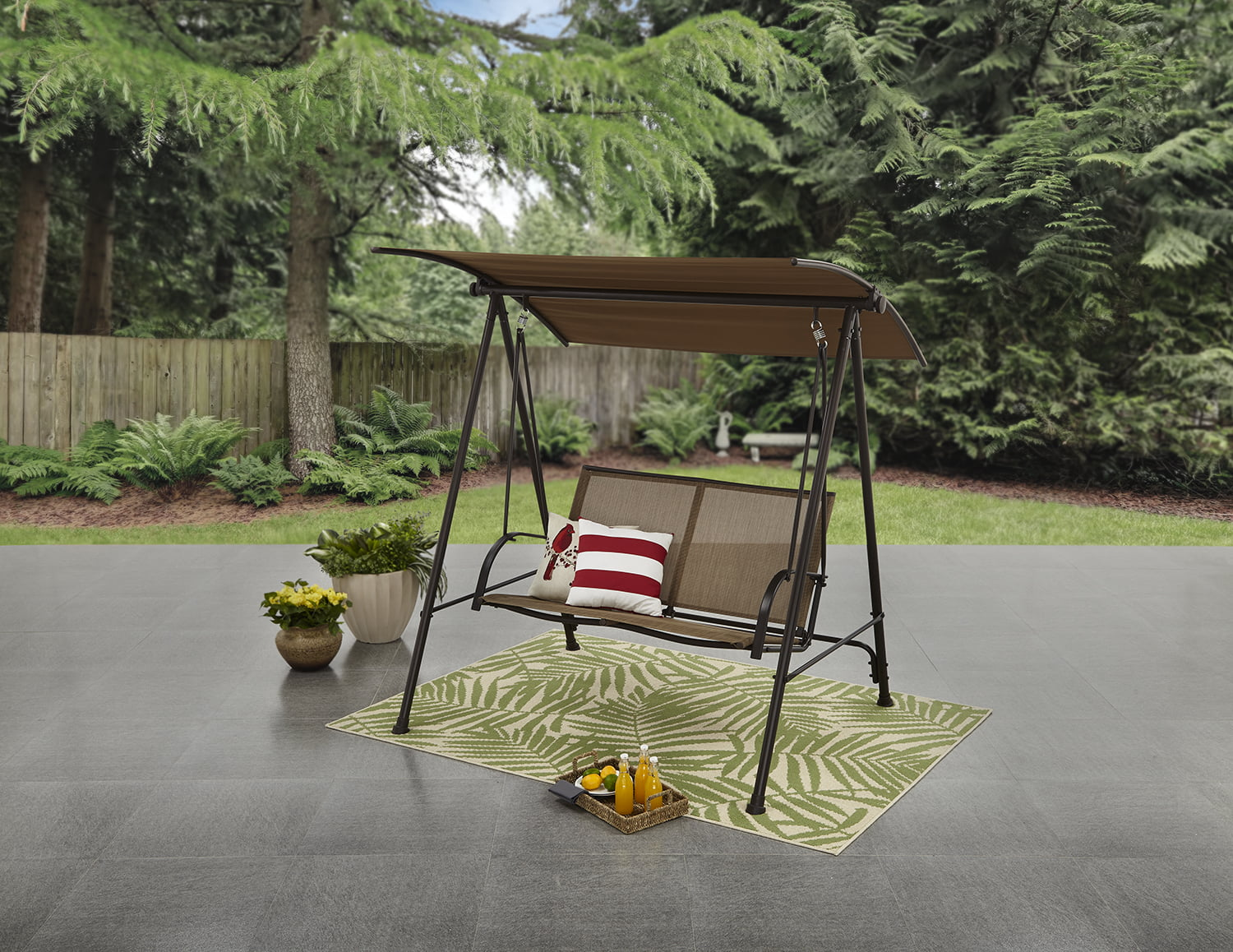 Mainstays Two Person Brown Canopy Sling Porch Swing