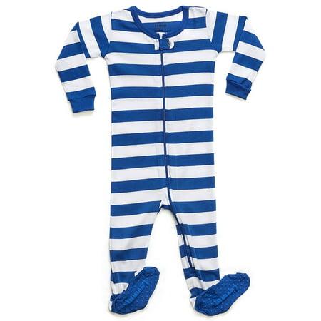 Stripe Sleeper (Leveret Striped Footed Pajama Sleeper 100% Cotton (2 Years Blue & White))