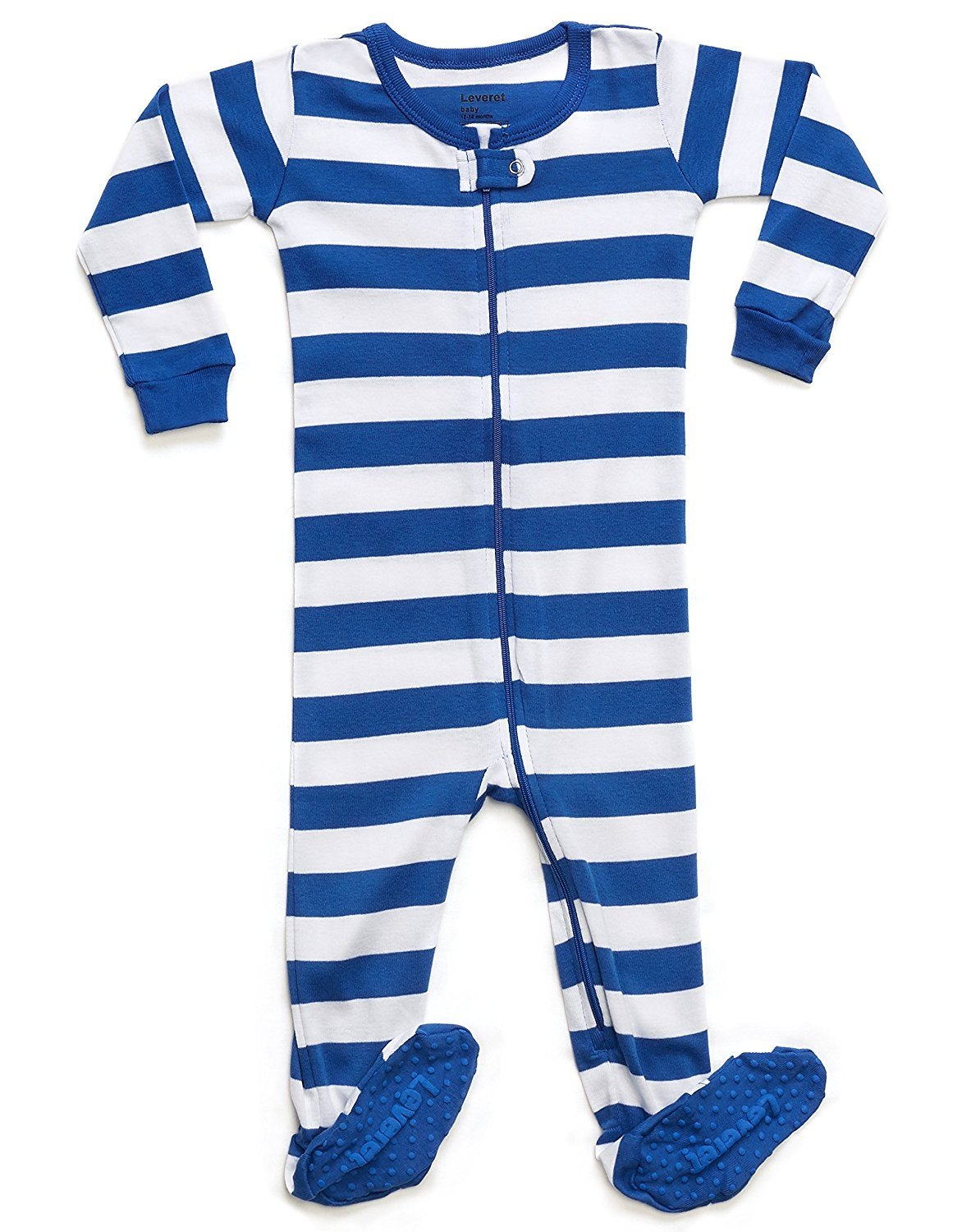 Leveret Striped Footed Pajama Sleeper 100% Cotton (2 Years Blue & White)