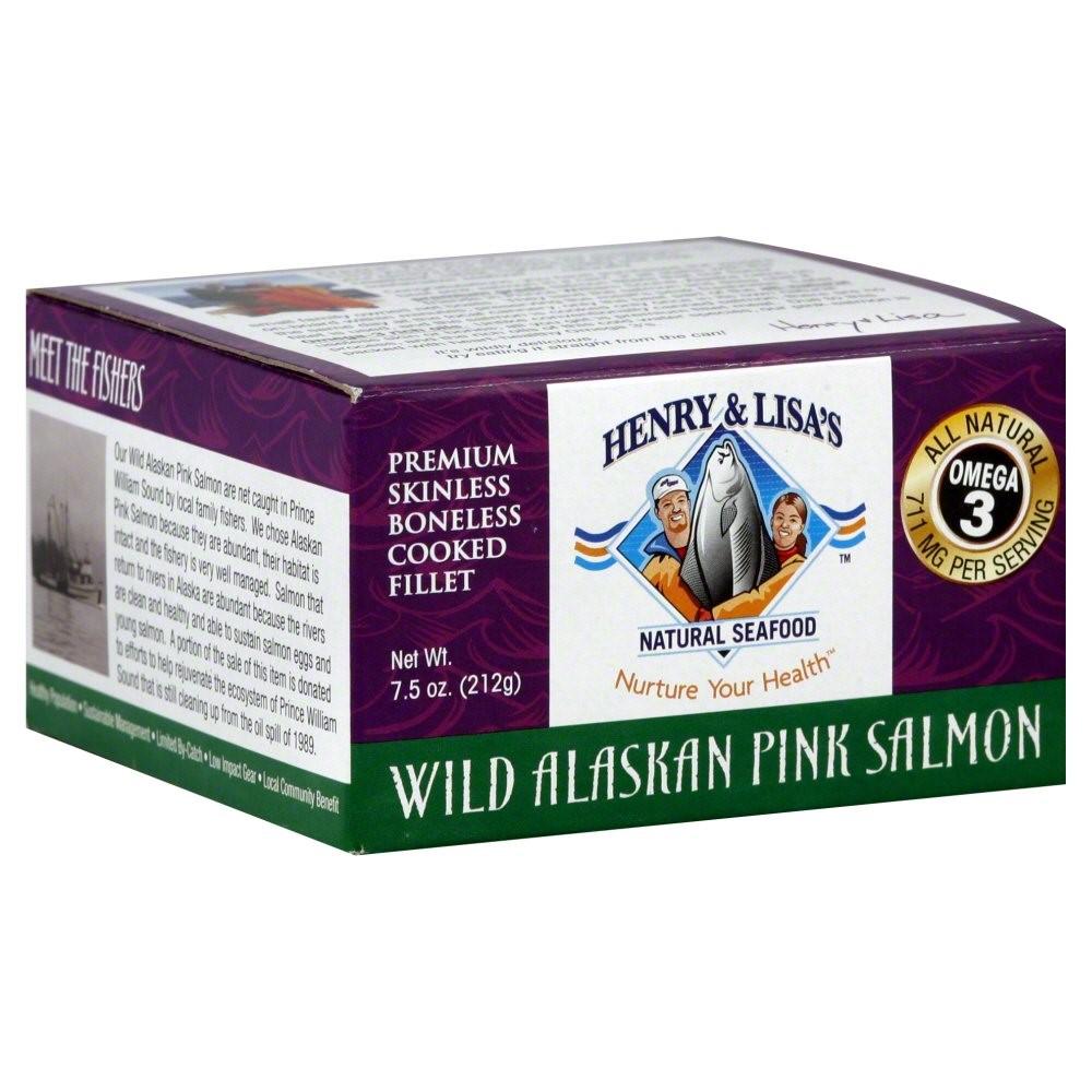 Henry & Lisa's Natural Seafood Canned Wild Alaskan Pink Salmon, Skinless & Boneless, 6 Oz