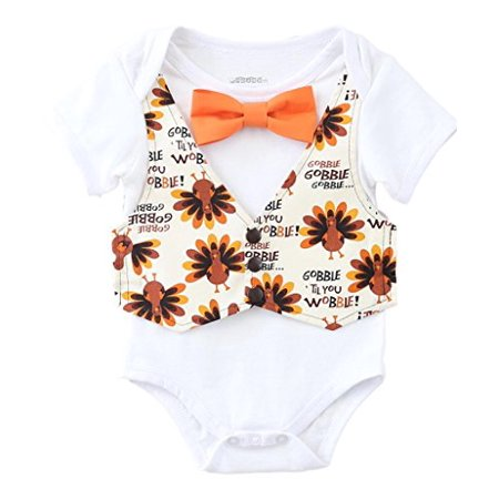 Noah's Boytique Baby Boys Thanksgiving Outfit Vest Bow Tie Gobble til You Wobble Newborn