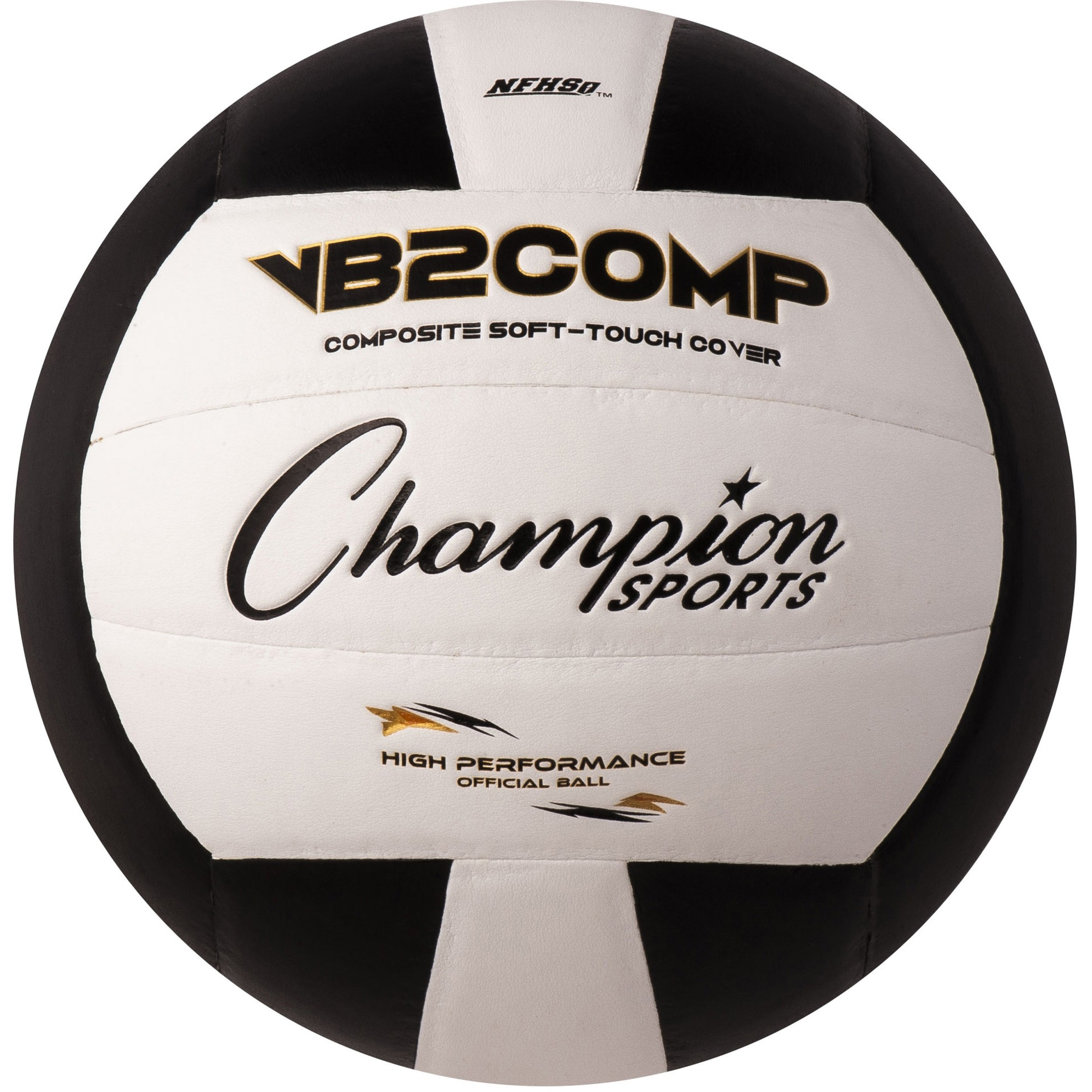 Champion Sports, CSIVB2BK, Official Size Volleyball, 1 Each, Black,White