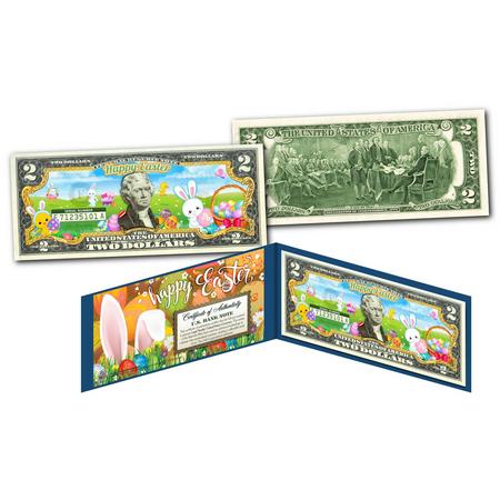 HAPPY EASTER Cartoon Bunnies Colorized Genuine Legal Tender US $2 Bill - Happy Easter Bunny