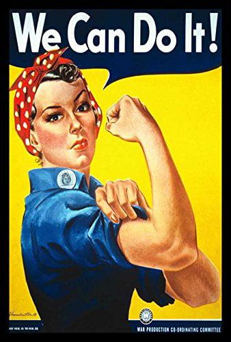 buyartforless FRAMED GEL-COATED Rosie The Riveter by Howard Miller 36x24 Art Poster Print WWII Vintage Advertisement by buyartforless