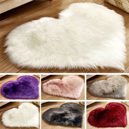 Fluffy Heart Shaped Rug Shaggy Floor Mat Soft Faux Fur Home Bedroom Hairy