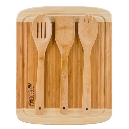 Frederica Trading 4 Piece Bamboo Cutting Board Set