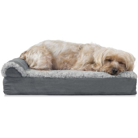 FurHaven Pet Dog Bed | Deluxe Orthopedic Faux Fur & Suede L-Shaped Chaise Couch Pet Bed for Dogs & Cats, Stone Gray, Small