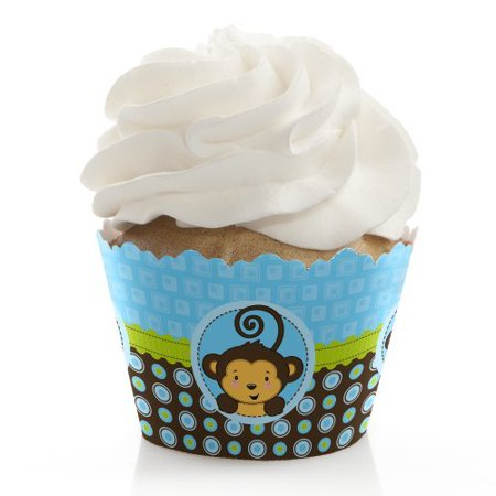 Monkey Boy - Baby Shower or Birthday Party Cupcake Wrappers - Set of 12](Baby Shower Cupcake Papers)
