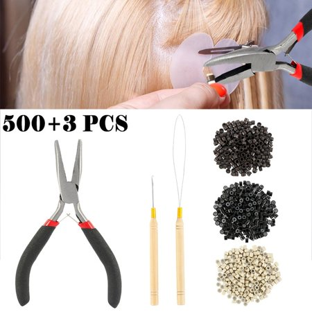 500pcs Silicone Beads Hair Extensions Pliers Hook Tool Kit For Micro Rings Loop Ring Hair Extensions