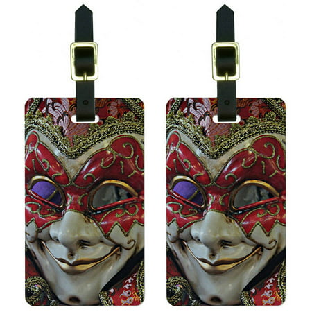 New Orleans Mardi Gras Mask Luggage Tags Suitcase Carry-On ID, Set of 2