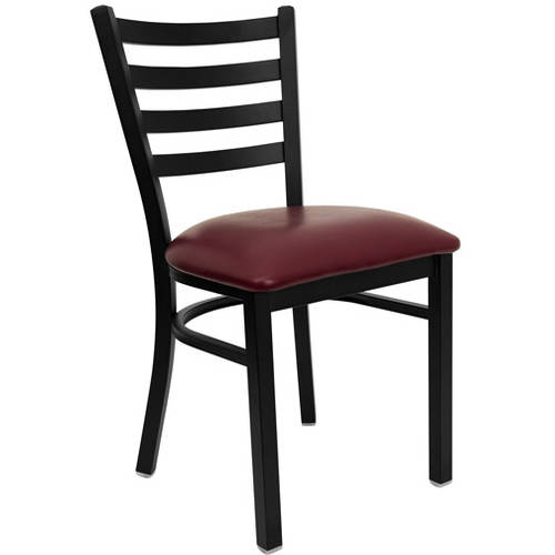 Ladder Back Chairs - Set of 2, Black Metal / Burgundy Vinyl Seat