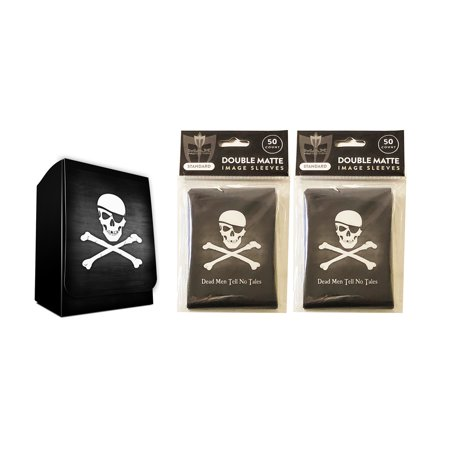 Pirate Design Deck Box + 100 Double Matte Sleeves (fits MTG, Pokemon, Force of Will Cards) (Mtg Deck Sleeves Angel)