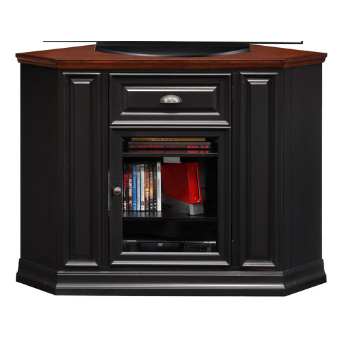 Leick Riley Holliday 46 in. Corner TV Console - Black and Cherry