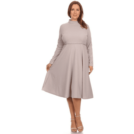 Womens Knit Fit And Flare Crew Neck Pleated Bottom Plus Size Dress   Made In Usa