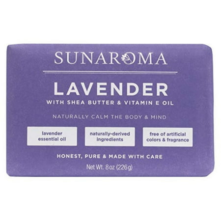 6 Pack - Sunaroma, Lavender With Shea Butter & Vitamin E Oil Soap Bar 8 oz