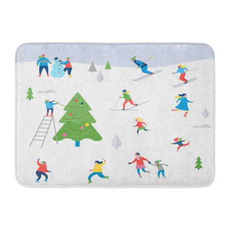 GODPOK Activity Winter Sport Scene Christmas Street Event Festival and Fair with People Families Make Fun Rug Doormat Bath Mat 23.6x15.7 - Winter Themed Events