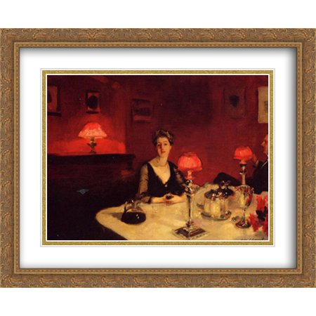 A Dinner Table at Night 2x Matted 34x28 Large Gold Ornate Framed Art Print by Sargent, John Singer