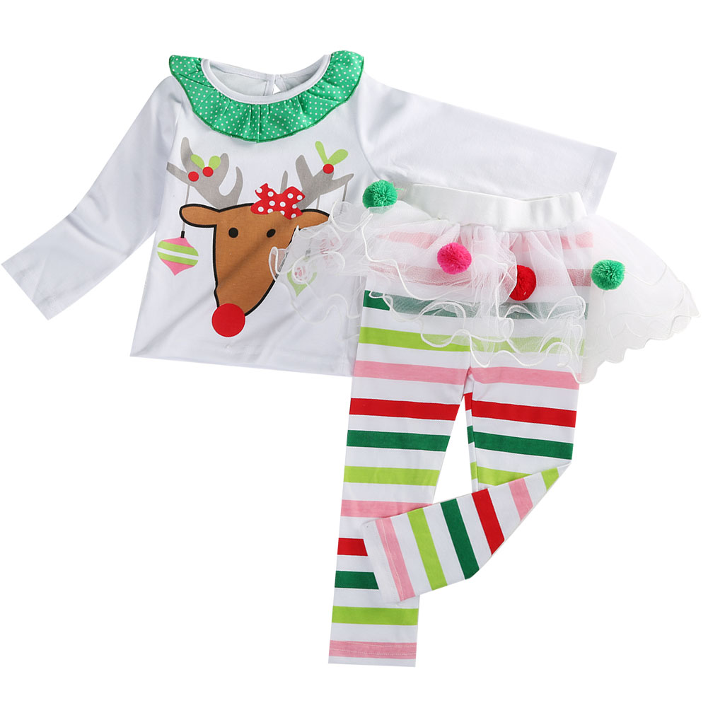 2PC Baby Girls Christmas Outfits Long Sleeve Reindeer T-shirt With Striped Tutu Pant 3-4 Year