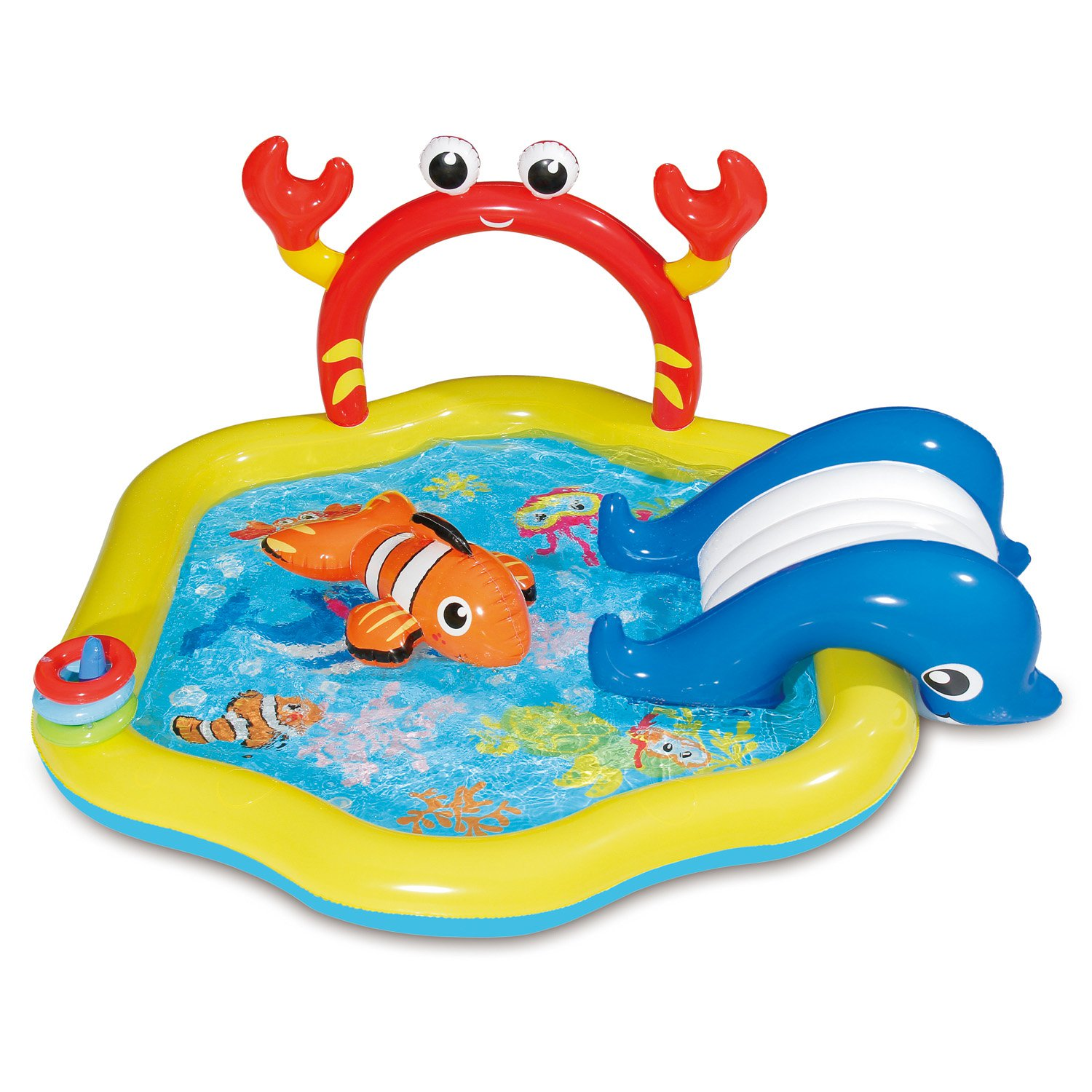 Summer Waves Inflatable Under the Sea Kiddie Swimming Pool Play Center w  Slide by Summer Waves