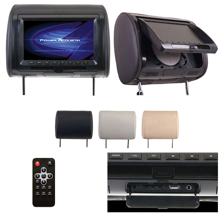 "Power Acoustik 9"" Headrest Monitor 3-Color Skins LCD/DVD USB/SD SOLD EACH"